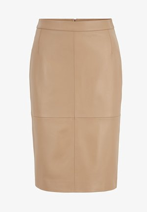 SELTONI - Leather skirt - beige