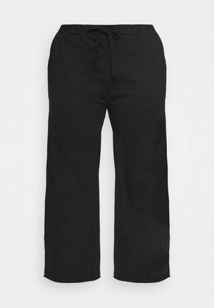 RAW HEM WIDE LEG - Pantalon de survêtement - black