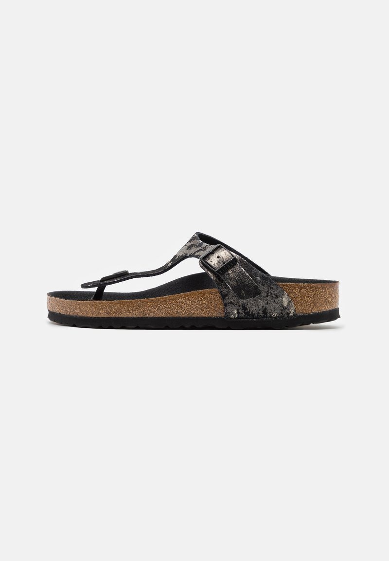 Birkenstock - GIZEH  - T-bar sandals - vintage metallic/black