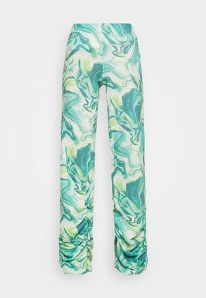 RUCHED HEM PRINTED JOGGERS TIE DYE - Trousers - green