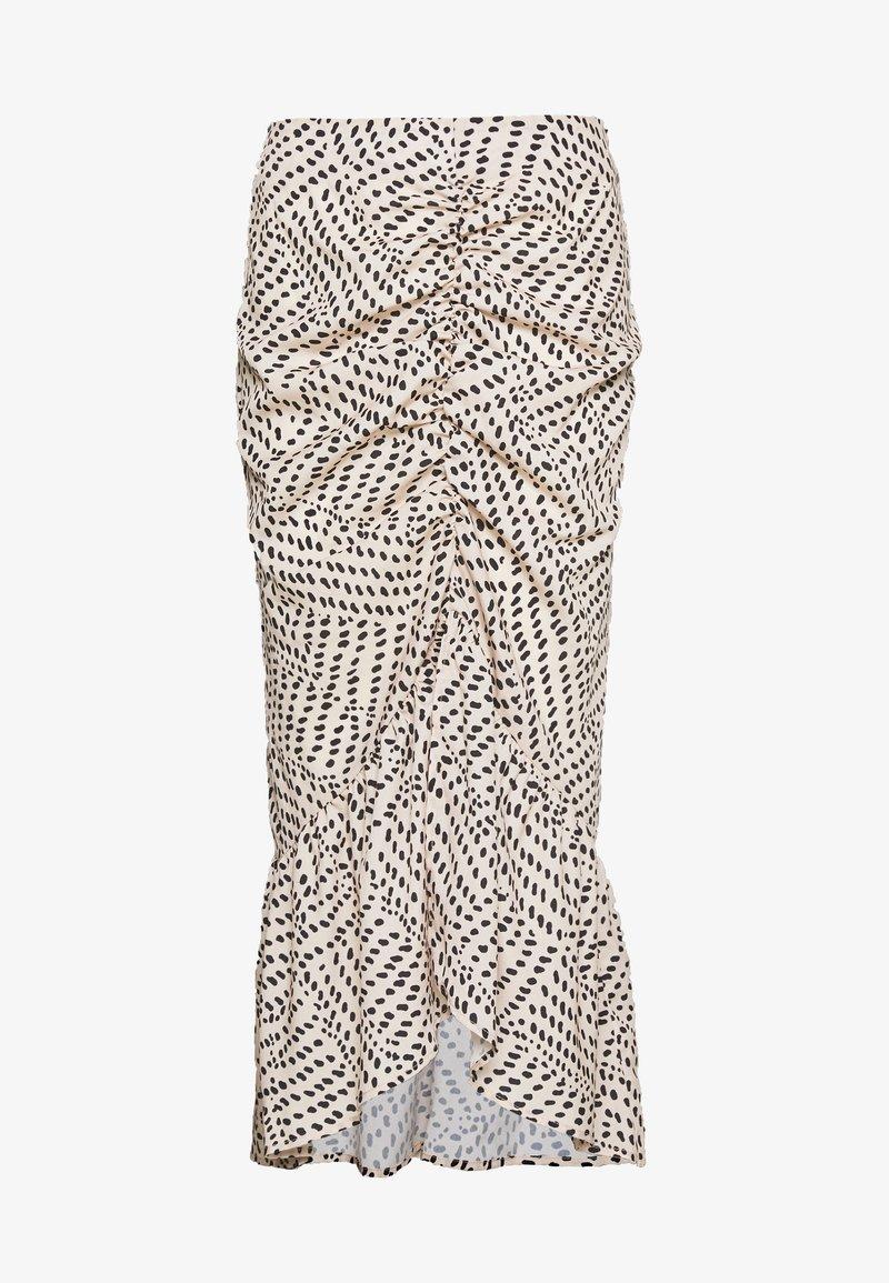 Missguided - DALMATIAN PRINT RUCHED MIDI SKIRT - Pencil skirt - nude
