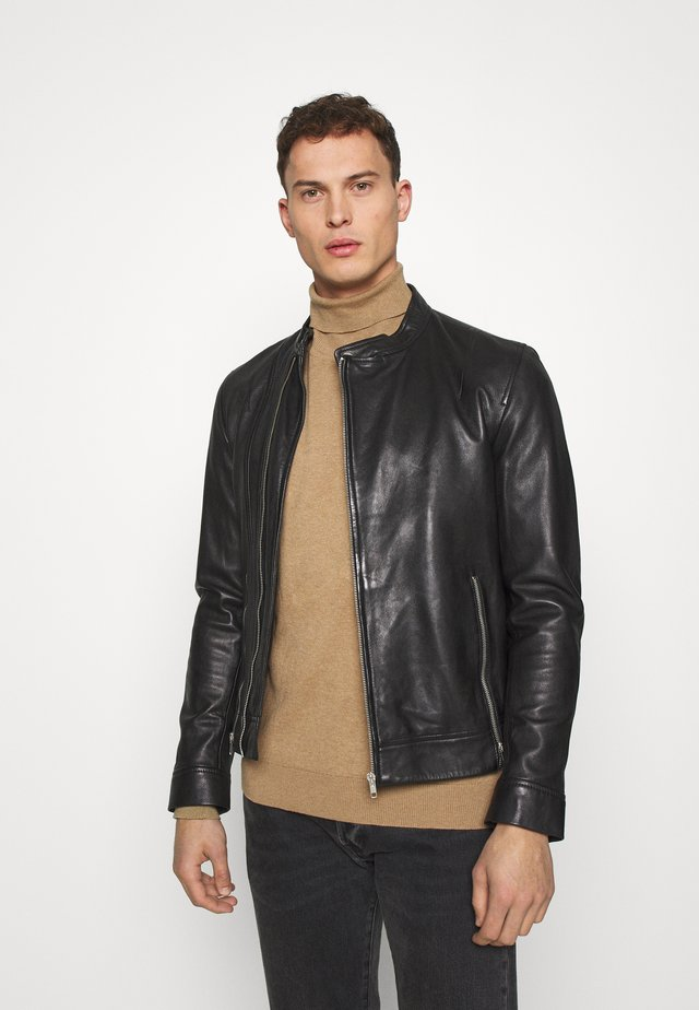 ALBAN - Leather jacket - black