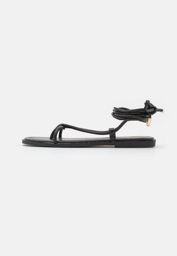 TIE UP TOE POST FLAT  - Flip Flops - black