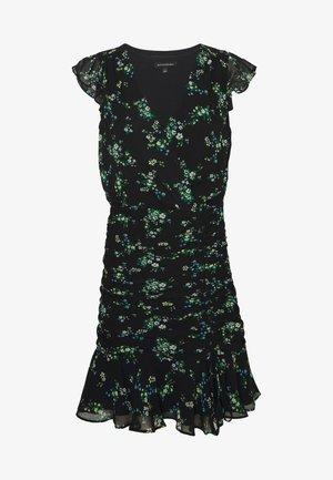 RUFFLE RUCHED MINI PRINT - Robe d'été - black