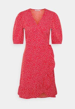 ONLSWEETHEART WRAP FRILL DRESS - Day dress - red/cloud dancer
