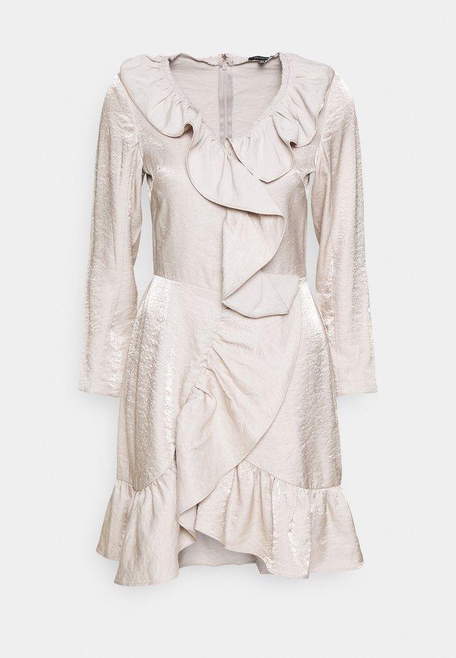 RUFFLE FRONT MINI DRESS - Cocktail dress / Party dress - quartz