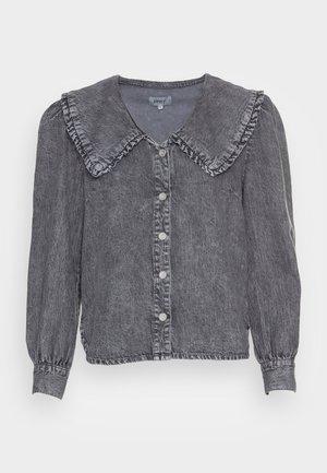 ONLTHEA LIFE COLLAR LONG - Button-down blouse - grey denim