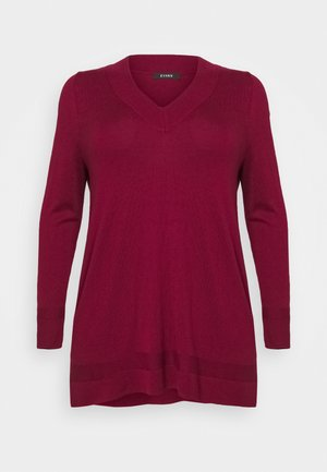 BERRY V NECK JUMPER - Strikkegenser - berry