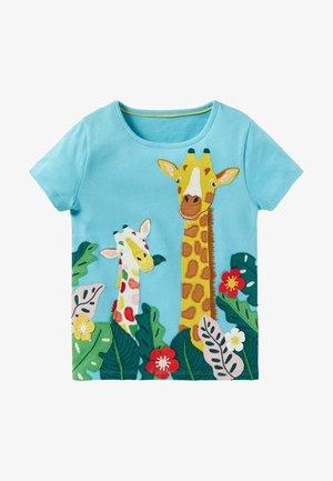Print T-shirt - wasserblau giraffe