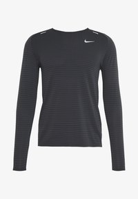 M NK TECHKNIT ULTRA LS - Long sleeved top - black/dark smoke grey/reflective silver