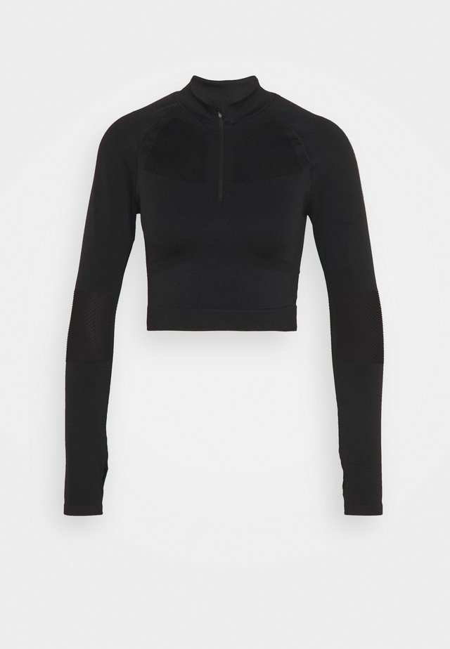 ZIP UP LONG SLEEVE - Langærmede T-shirts - black