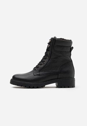 LEATHER ANDREAS - Šněrovací kotníkové boty - black
