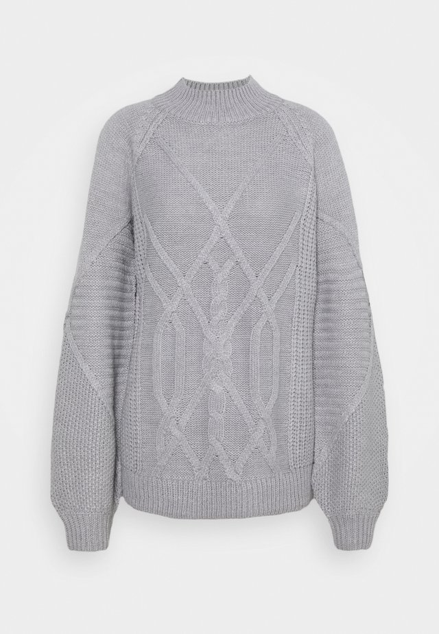 CABLE HIGH NECK JUMPER - Svetr - grey marl
