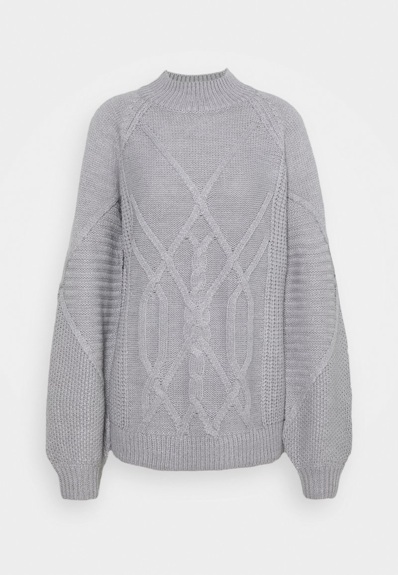 Dorothy Perkins Tall - CABLE HIGH NECK JUMPER - Jumper - grey marl