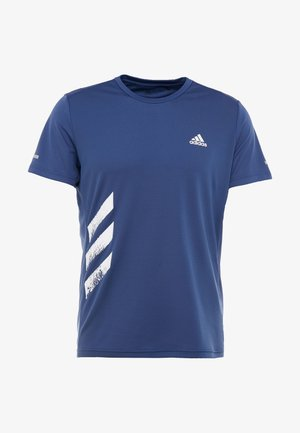 OWN THE RUN 3STRIPES SHORT SLEEVE TEE - T-shirt z nadrukiem - tech indigo