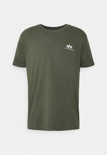 SMALL LOGO REFLECTIVE PRINT - T-shirt basic - dark olive