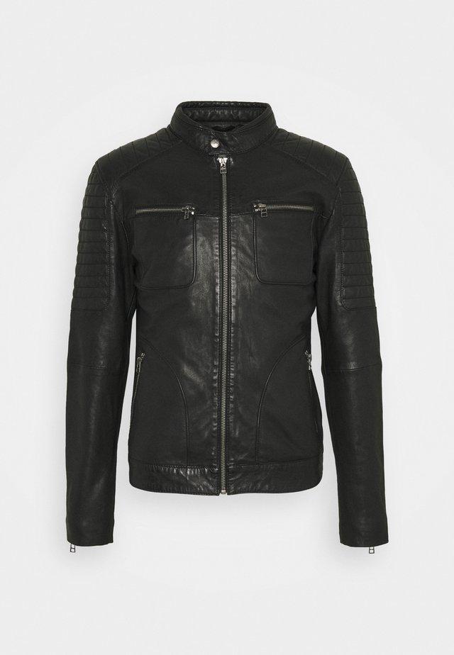 ADRIAN BIKER - Kožená bunda - black