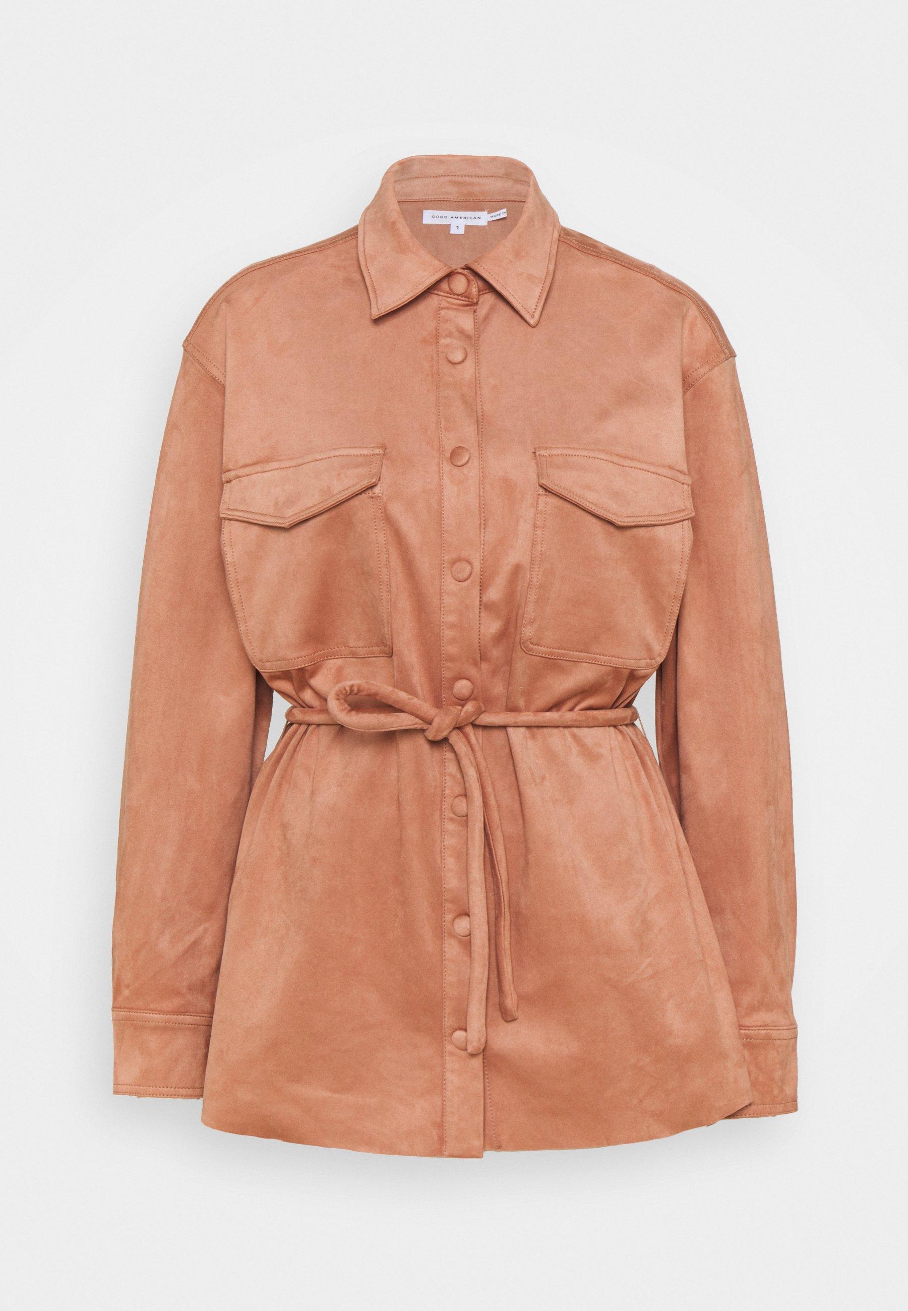 Women BELTED SHACKET - Faux leather jacket