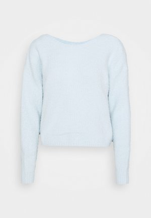 REVERSIBLE COZY TWIST BACK - Svetr - light blue