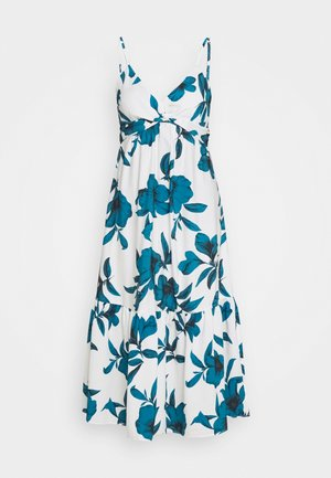 VNECK TWIST FRONT SHEATH PRINT - Day dress - white
