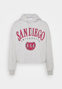 Even&Odd - OVERSIZED CROPPED PRINTED HOODIE - Jersey con capucha - mottled light grey - 4