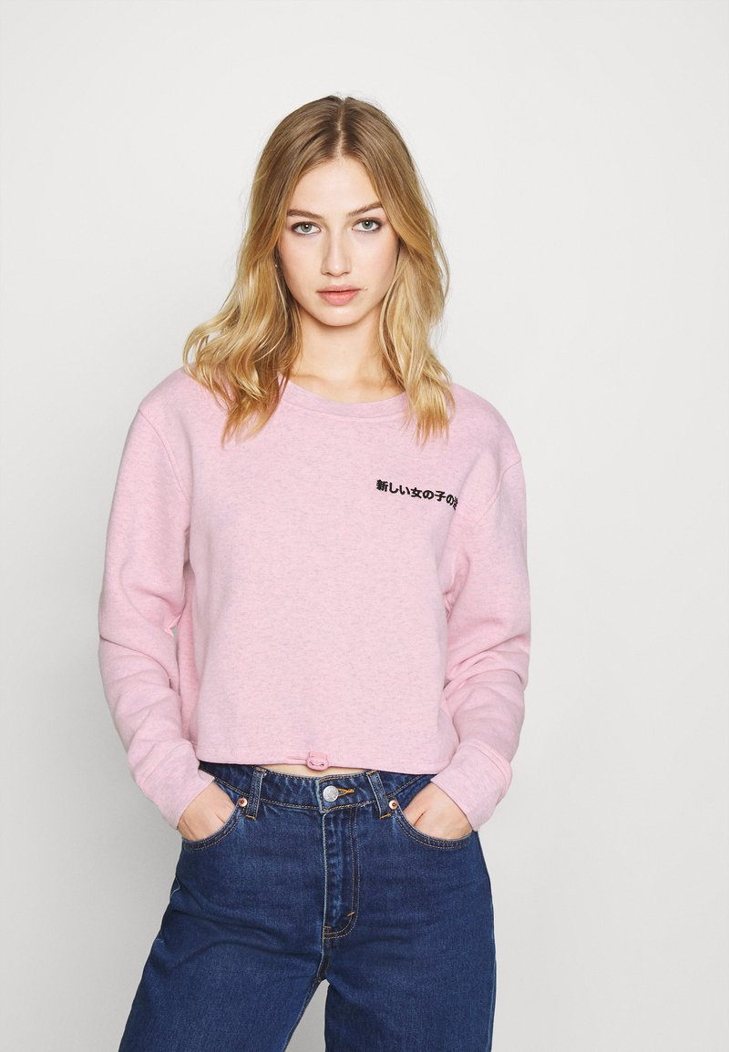 NEW girl ORDER - EMBROIDERED TEXT ELASTIC HEM - Sweatshirt - pink
