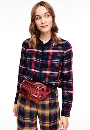 Button-down blouse - navy check