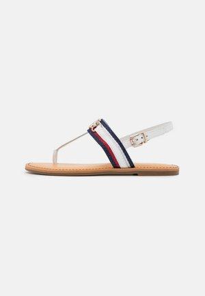 SHIMMERY FLAT  - T-bar sandals - ecru