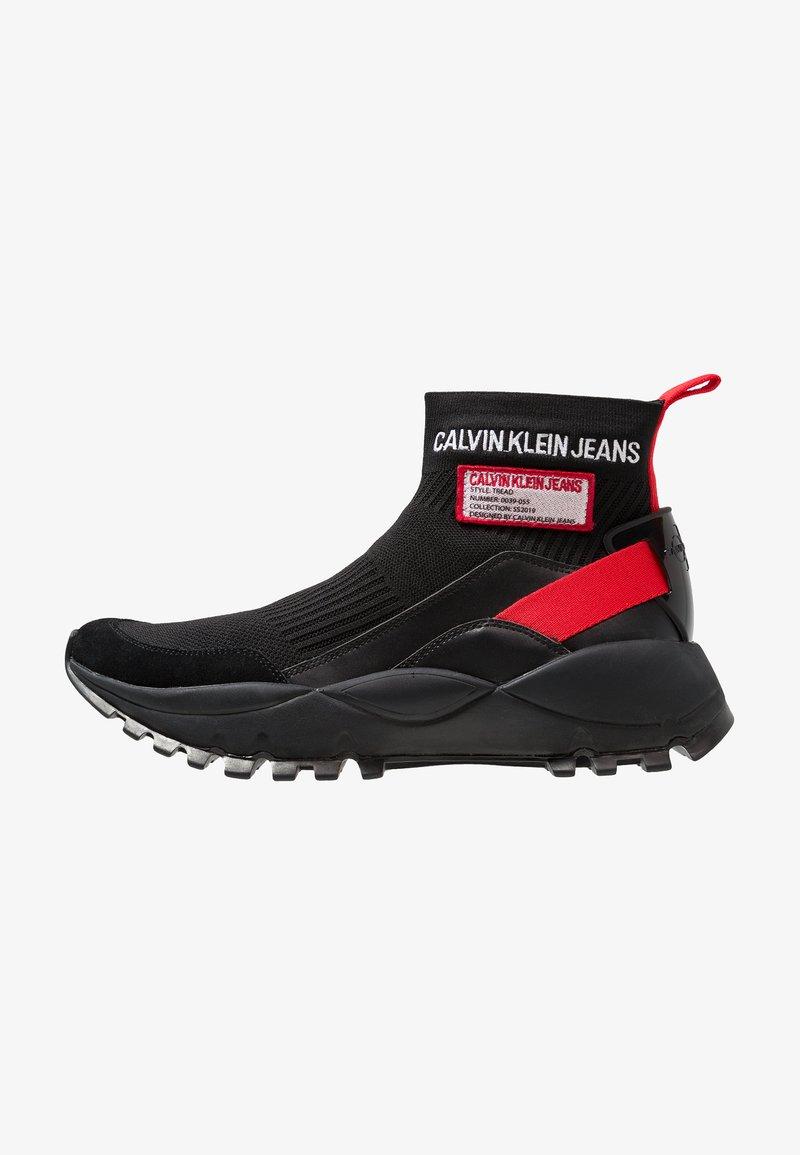 Calvin Klein Jeans - TRAY - Sneakersy wysokie - black/tomato