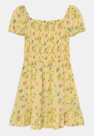 SHIRRED FLORAL - Day dress - yellow