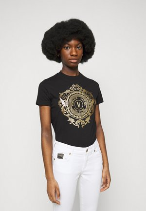 TEE - T-shirt z nadrukiem - black/gold