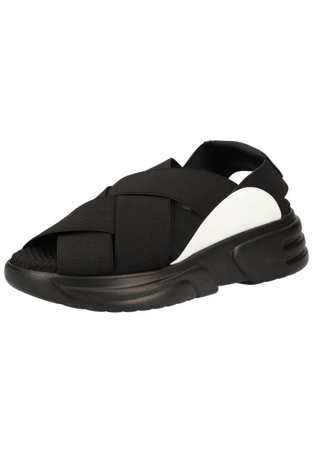 SANDALEN - Sandalen met plateauzool - multi nero/bianco ex001