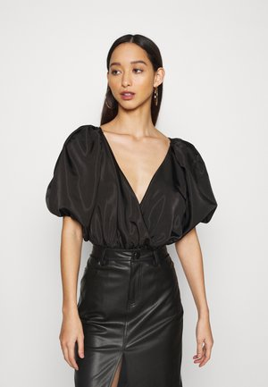 WRAP FRONT AND BACK BODYSUIT WITH PUFF 1/2 SLEEVES - Blouse - black