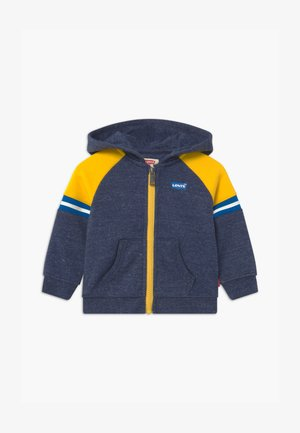 COLORBLOCK FULL-ZIP HOODIE - Huvtröja med dragkedja - dark blue/yellow