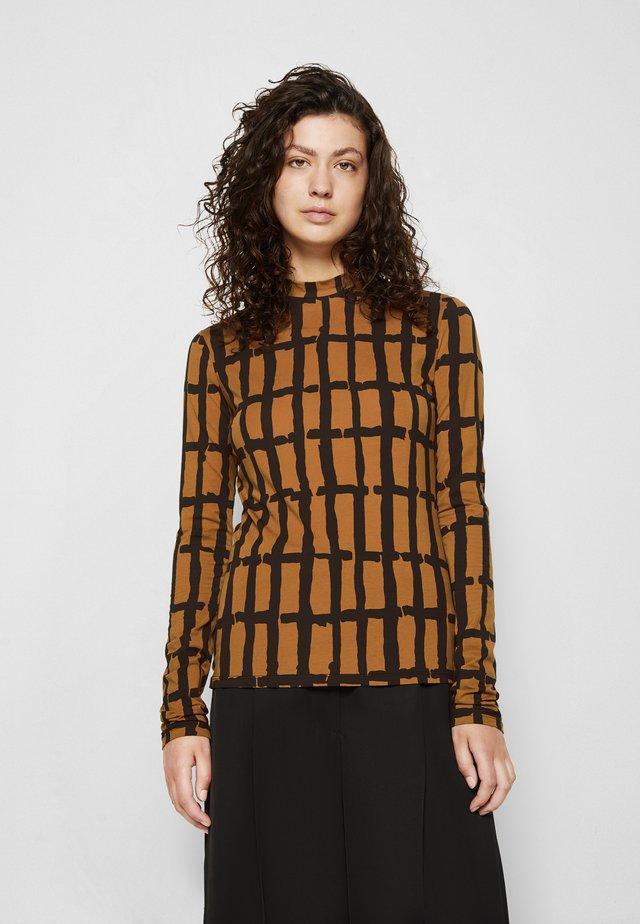 PAINTED GRID TURTLENECK TOP - T-shirt à manches longues - khaki/black