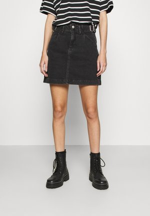 BUCKLE SKIRT - Mini skirt - washed black