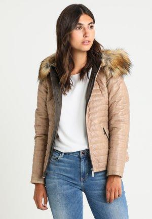 FURY  - Kožená bunda - dark beige