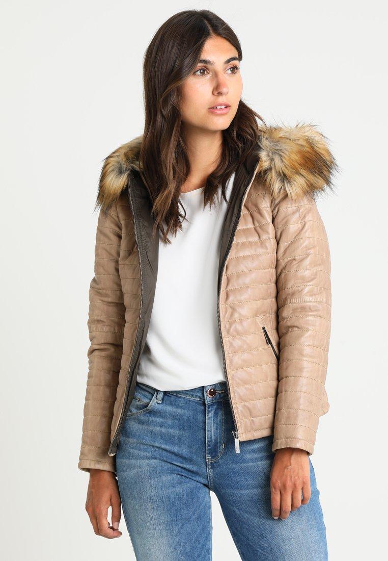 Oakwood - FURY - Leather jacket - dark beige