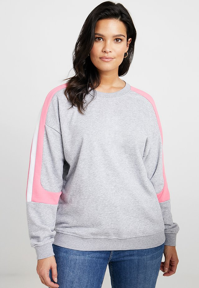 LADIES PANEL TERRY  - Sweatshirt - grey/pinkgrapefruit/white