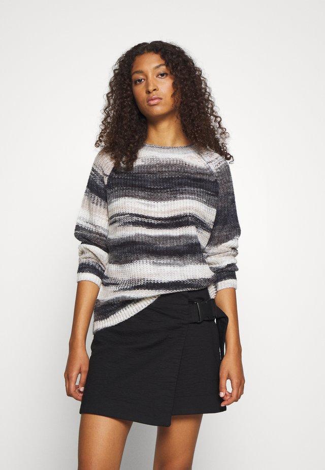 NMLEED O NECK - Pullover - black/asphalt/white