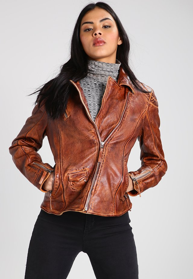 BLIND TRUST - Leather jacket - cognac