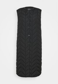 Pieces - PCFAWN LONG QUILTED VEST - Waistcoat - black - 3