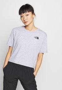The North Face - CROPPED SIMPLE DOME TEE - Print T-shirt - light grey heather - 0