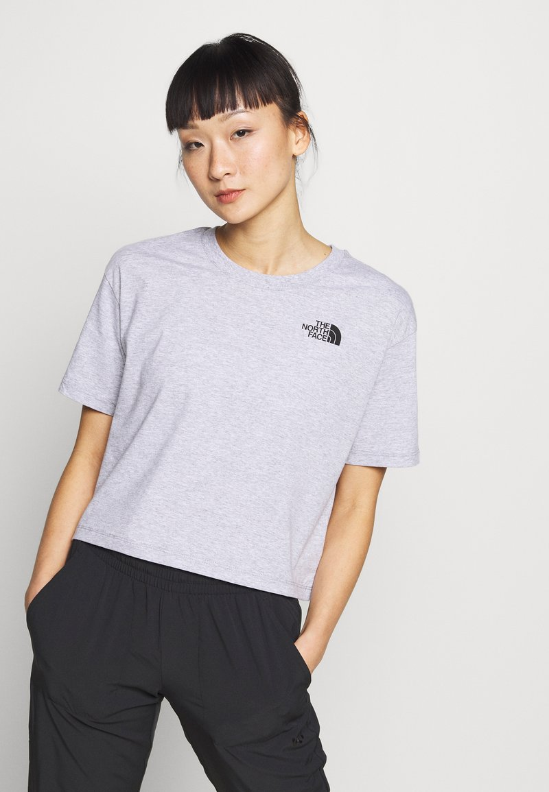 The North Face - CROPPED SIMPLE DOME TEE - Print T-shirt - light grey heather