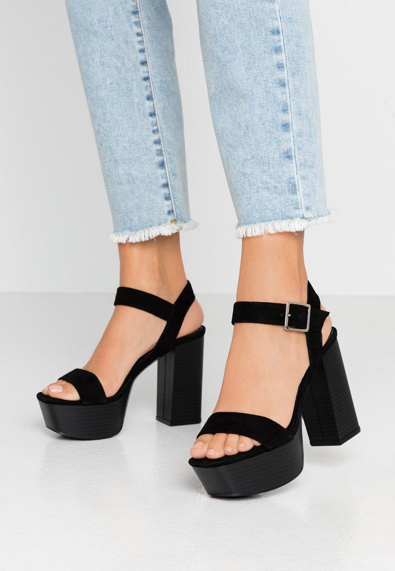 Even&Odd - LEATHER PLATFORM HEELED SANDAL - Korolliset sandaalit - black
