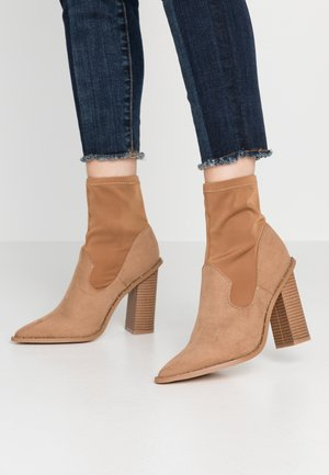 MIXED BOOT  - High heeled ankle boots - taupe