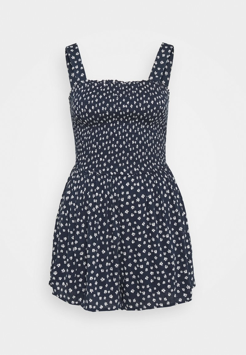 Hollister Co. - SMOCKED BODICE ROMPER - Jumpsuit - navy