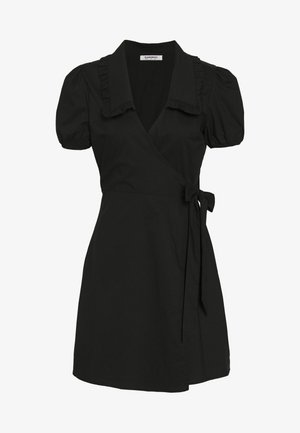DRESS WITH RUFFLE COLLAR - Kjole - black