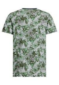 WE Fashion - MET STREEP- EN BLADERENDESSIN - T-shirt con stampa - green - 4