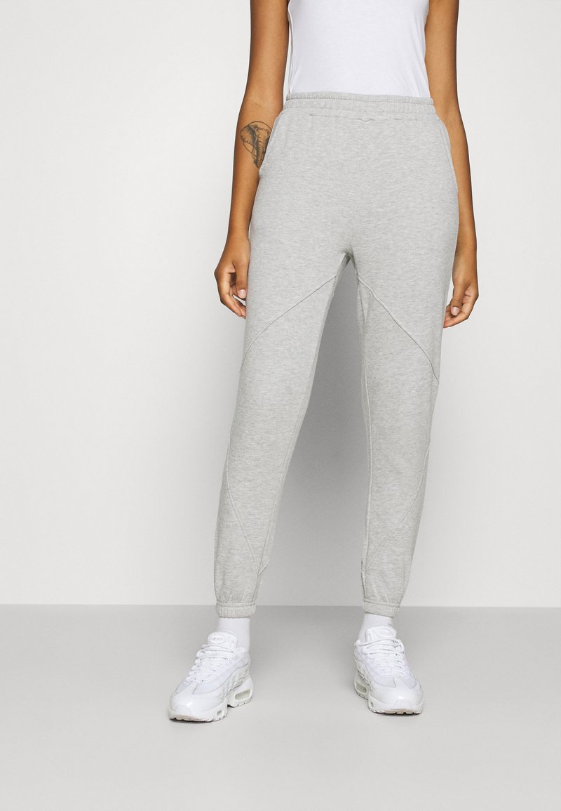 Even&Odd - REGULAR FIT JOGGERS WITH SEAM DETAIL - Træningsbukser - mottled light grey